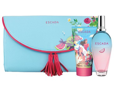 Giftset Escada Sorbetto Rosso Edt 100ml + Body Lotion 150ml + Clutch Bag